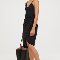 Draped Wrap-front Dress - Black - Ladies | H&M US