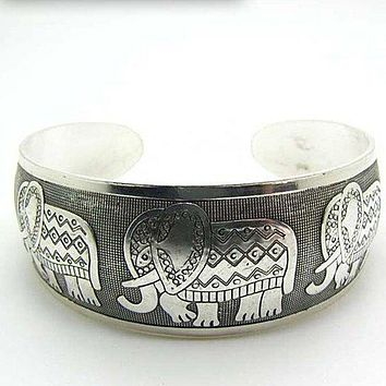 Elephant (Symbol of Strength, Honor, Stability and Patience) Retro Silver Plated Bracelet-Boho Silver