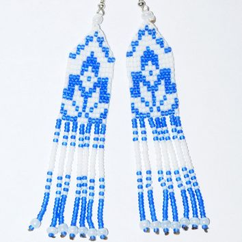 Ukrainian hand-made bead earrings. Blue