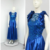 Vintage 80s Alyce Designs Blue Lame Dress, Sequin Dress, Prom Dress, Maxi Dress, Ruffle Dress, Formal Dress, Evening Gown, Sparkly Dress