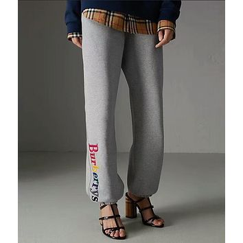 """Burberry""Fashion New Style Women Causal Colorful Letter Embroidery Drawstring Sport Stretch Pants Trousers Sweatpants I-ZYHFS"