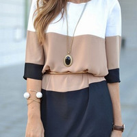 Fall Fashion White Coffee Black Color Block Dress