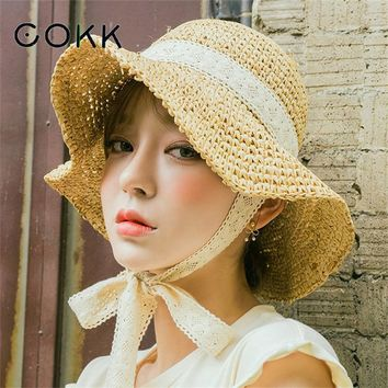 COKK Summer Boater Hats For Women Straw Sun Hat Lady Girls Lace Ribbon Bow Panma Beach Hat Floppy Female Travel Folding Chapeu