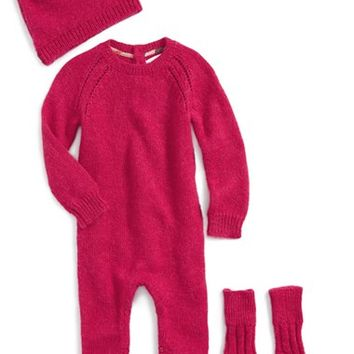 Infant Girl's Burberry Alpaca Romper, Hat & Socks