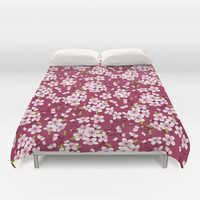 Cherry Blossoms Pattern Duvet Cover by AnastasiaDesign