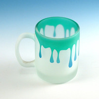 Espresso Cup - Drips - Green and Blue Frost - Custom Painted and Etched Glass Mug