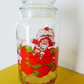 Glass canister, strawberry shortcake, kitchen decor, 1980s, kids cartoon, collectible class, cartoon characters, kitchen canister, retro