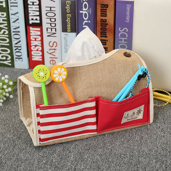 Cotton Linen Remote Storage Bathroom Waterproof Tissue Box [6377499588]