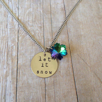 """Winter """"Let it Snow"""" Necklace, Hand Stamped, Aqua Snowflake"""