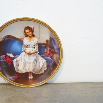 Vintage Wall Plate / Girl Plate / Boho Chic Plate / Bohemian Plate / Angry Girl / Normal Rockwell / Shower Gift / Waiting At The Dance