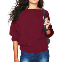 Autumn Winter 2016 Sexy Ladies Warm Pullovers Long Sleeved Loose Casual Knitted Sweater Tops Women' Clothings LX096