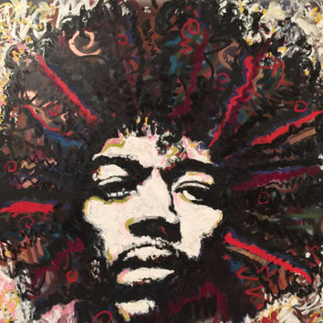 Portrait Painting Jimi Hendrix Painting Mixed Media on Canvas by Matt Pecson 48x48 Modern Wall Art Pop Art Painting Large Canvas Art