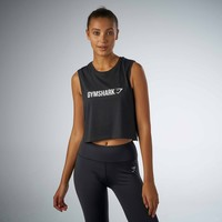 Gymshark Crop Mesh Back Tank - Black