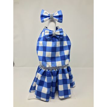 Blue Plaid Silver Pearl Laced Dress plus matching Collar Bow
