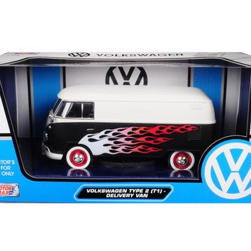 Volkswagen Type 2 (T1) Delivery Van with Flames 1/24 Diecast Car Model by Motormax