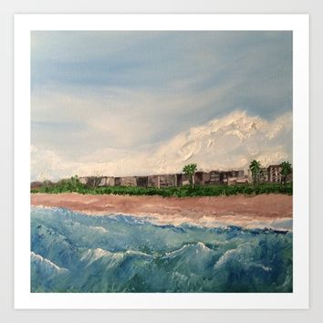Cocoa Beach  Oil on canvas Art Print by Annette Forlenza
