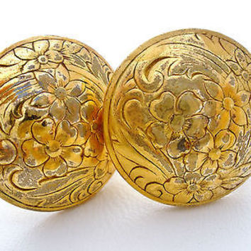 Art Deco Gilded Brass Button Flower Earrings Screwback