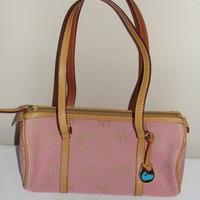 Pre Owned Pink Dooney and Bourke Monogram Canvas Bag Leather Trim