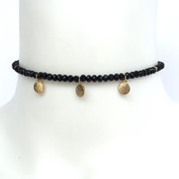 Flourish Crystal Bead Choker In Black