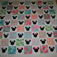 Made to order  Everybody Knows It's All About the Bows! Queen Size Minnie Mouse inspired Quilt made with Lilly Pulitzer fabric