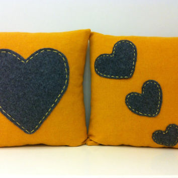 2 Wool Mustard Pillow Covers, Mustard Pillow, Mustard Yellow Wool Pillows, Heart Pillow, Mustard Pillows, Valentines Day Gift Throw Pillows