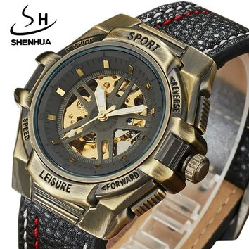 Mechanical Men watch Automatic Wristwatches Creative Top Brand Luxury Leather Steampunk Skeleton Watches Relogio Masculino Clock