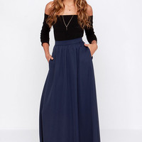 Tempting Fate Navy Blue Maxi Skirt