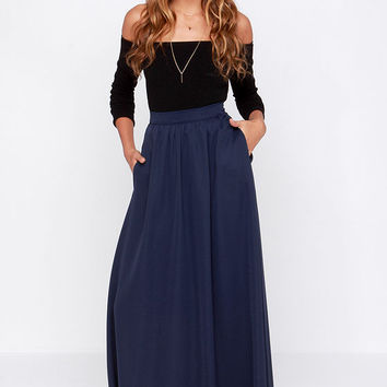 Maxi Skirt Navy Blue | Jill Dress