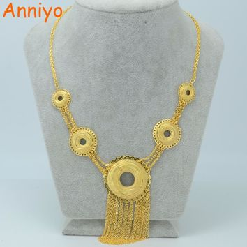 Anniyo 48CM + 3CM / Africa Necklace Women Gold Color Middle Eastern Arab Jewelry Indian/Egypt/Nigeria/Ethiopian Chain #000605