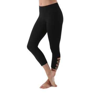 Women's Active Capri Yoga Compression Leggings - Black