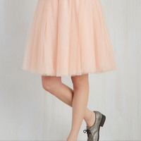 Pastel Mid-length Full Turning in Tulle Skirt in Peach
