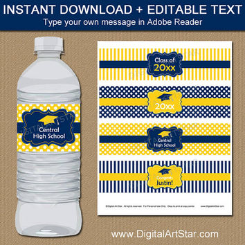High School Graduation Party Water Bottle Labels - Graduation Water Bottle Labels - Graduation Party Decor - Navy Yellow Grad Drink Wraps
