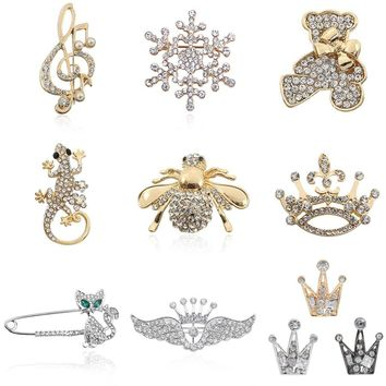 Fashion Full Rhinestone Bee Tortoise Lizard Bear Crown Music Note Guitar Brooches Pins Jewelry For Women Christmas Gifts Broches