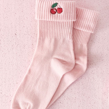 Cherry Socks in Pink