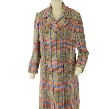 60s Plaid Silk Tweed Double Breasted Coat