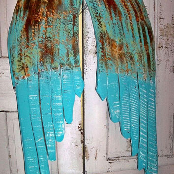 Large wooden wings custom mix Caribbean blue rusty hand carved wall sculpture distressed home decor Anita Spero