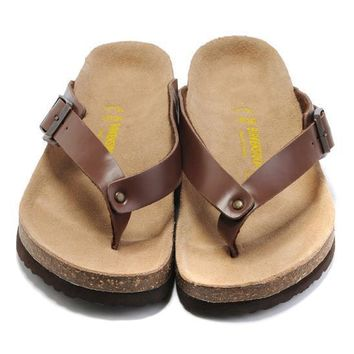 Birkenstock Leather Cork Flats Shoes Women Men Casual Sandals Shoes Soft Footbed Slippers-195