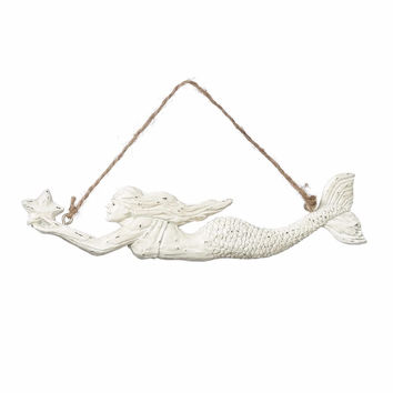 Swimming Mermaid with Sea Star Coastal Holiday Ornament