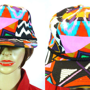 Vtg Snapback Hat / 80s Abstract Hat/ Snap Back Basball Hat/ SAN SUN Cap /  1980s Trucker Hat/ Raver Hat / Fresh Prince Hat/ 90s Clothing