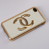 White Leather Gold iPhone Case
