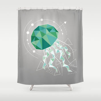 Low Poly Jellyfish Shower Curtain by MirKat Design