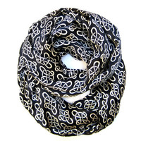Chain Print Infinity Scarf Womens Endless Loop Scarf Chain Circular Infinity Black Cream Scarf Beautiful Business Scarf