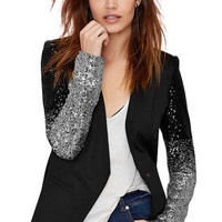 Sequins Splicing Long Sleeve Blazer