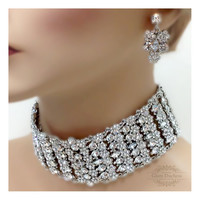 Bridal choker statement necklace earrings, vintage inspired crystal choker necklace, wedding jewelry set, Old Hollywood