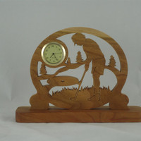Female Golf Scene Desk Clock Handmade From Cherry Wood, Golfing Clock, Golfer Clock, Desk Clock