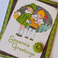 Christmas Holiday Season Vintage Retro Style Greeting Card Paper Craft,  Blank Old Fashioned Days Gone By Christmas Note Card