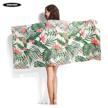 Brand Surfing Compact Beach Towel Microfiber Yacht Travel quick drying surf Flower printing Towel