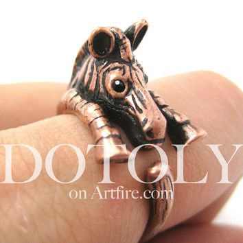 Zebra Horse Animal Wrap Around Ring in Copper - Sizes 4 to 9 Available