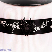 Kawaii Pastel Goth Creepy Cute Halloween Inspired Sparkly or Fuzzy Spiderweb or Skeleton Printed Choker