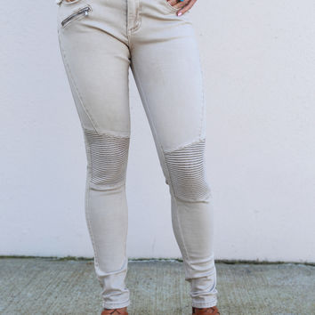 Hello Moto Jeggings [Champagne]